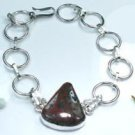 Beautiful natural jasper gemstone silver 925 bracelet ! Woman & Man gifts