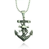 Vintage stainless steel anchor pirate pendant & necklace ! Gift Jewelry and Love