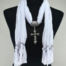 Lady White Scarf With Cross Pendant Necklace ! Gift Jewelry & Fashion Accessory