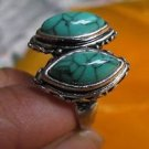 Fashion Thailand silver ring turquoise gemstone size 9.5. ! Gift Jewelry & Love