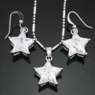 Fine 18kGP star cut crystal pendant chain & earrings ! Gift Jewelry and Love