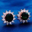 18K Rose Gold Plated Beautiful Green Round Design Cubic Zircons Stud Earrings