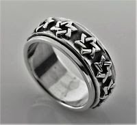 Solid sterling silver 925 David stars men , woman ring size 7.5 ! Gift & Jewelry
