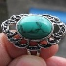 Fashion silver ring set natural Turquoise gemstone size 10 ! Gift Jewelry & Love