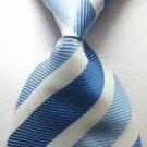 Fashion Accessory Blue & white Striped Silk Classic Woven Necktie - Men's Tie
