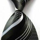 Fashion Accessory Black & White Striped Silk Classic Woven Necktie - Men's Tie