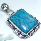 Special Turquoise silver pendant + sterling necklace ! Gift Jewelry and Love