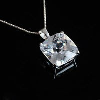Sterling silver 925 white zircon gemstone pendant & necklace ! Gift & Jewelry