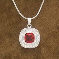 red dazzling zircon 18K Gold Plated Pendant & necklace ! Gift Jewelry & Love