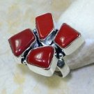 Fashion retro natural red coral gemstone silver ring size 8 ! Gift & Jewelry