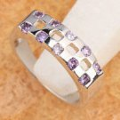 Fashion amethyst woman gentle platinum plated ring size 7 ! Gift & Jewelry