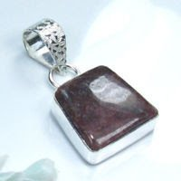Fine Rhodonite silver 925 pendant + sterling necklace ! Gift Jewelry and Love