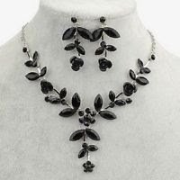 Silver plated necklace & earrings leafs flowers & black crystal ! Gift & Jewelry