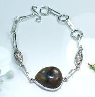 Beautiful fashion jasper gemstone silver 925 bracelet ! Gift Jewelry and Love