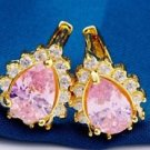18K Gold Plated Beautiful Pink Cubic Zircons Earrings ! Gift Jewelry & Love
