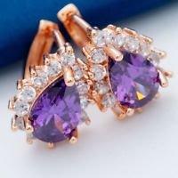 18K Rose Gold Plated Flower Design Purple & White Cubic Zircons Hoop Earrings