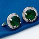 18K White Gold Plated Beautiful Green Round Design Cubic Zircons Hoop Earrings