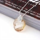 18K GP champagne Swarovski Crystal Pendant Necklace ! Gift Jewelry and Love