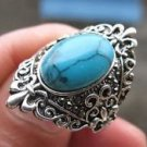 Fashion Thailand silver ring set natural Turquoise stone size 8 ! Gift & Jewelry