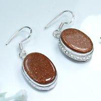 Fine beautiful silver & natural Sun sitara earrings ! Gift Jewelry & Love