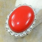 Fashion retro design silver set red coral ring size 8 3/4 ! Gift Jewelry & Love