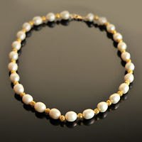 Fashion fresh water white pearls gold ball beaded necklace ! Gift Jewelry & Love