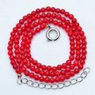 Fashion red natural sea coral fossil gemstone beaded necklace ! Gift & Jewelry