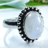 Fine fashion silver & rainbow moonstone ring size 9 1/2 ! Gift Jewelry & Love