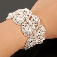 Crystal zircons wedding solid silver 925 8 inch bracelet ! Gift Love & Jewelry