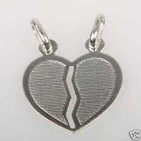 Solid sterling silver 925 pendant broken heart with two necklaces ! Gift & Love