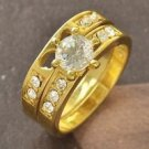 Fashion design 9k gold filled 2 rows cubic zircon ring size 9 ! Gift & Jewelry