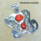 Fashion natural coral gemstone & silver pendant + necklace ! Gift Jewelry & Love