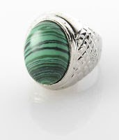Fashion silver plated retro ring set Malachite gemstone size 7.5 Gift & Jewelry