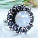 Special style silver set rainbow moonstone ring size 6 ! Gift Jewelry & Love
