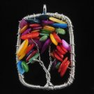 Fashion Multicolors Shell beads on tree pendant & necklace ! Gift Jewelry & Love