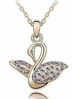 Swan purple zircons & 18K gold plated Pendant & Necklace ! Gift Jewelry & Love