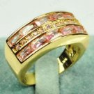 Fine fashion 10kt gold filled pink sapphire unisex ring size 9 ! Gift & Jewelry