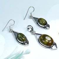 Silver 925 Tiger eye earrings & pendant & necklace ! Gift Jewelry and Love
