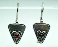 Triangle design silver 925 hanging earrings set red ruby ! Gift Jewelry & Love