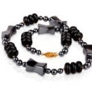 Fine fashion genuine Onyx & Amethyst beaded necklace . ! Gift Jewelry & Love
