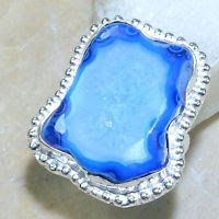 Fine fashion natural Drusy Agate silver ring size 7 1/2 ! Gift Jewelry & Love