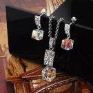 18k GP necklace Swarovski & Zircons pendant & earrings ! Gift Jewelry & Love