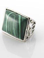 Fashion silver 925 plated ring set Malachite gemstone size 6.5 ! Gift & Jewelry
