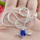 18k gold plated necklace & pendant set purple swarovski stone ! Gift & Jewelry