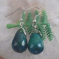 Fashion silver earrings set natural chrysocolla gemstone beads ! Gift & Jewelry