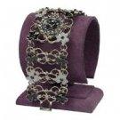Crystal Wide Lady Flower Enamel Silver plated Bracelet Wrist Watch ! Gift & Love