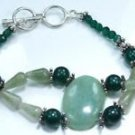 Amazonite + green Quartz gemstones silver 925 bracelet ! Woman & Man gifts