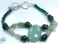 Amazonite + green Quartz gemstones silver 925 bracelet ! Woman & Man gifts