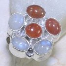 Fashion silver ring + carnelian + rainbow moonstone beads size 7 ! Gift & Jewel