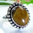 Pretty fashion silver 925 & Tiger eye ring size 8 7/8 ! Gift Jewelry and Love